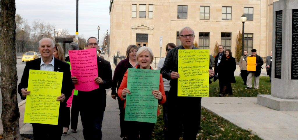 Walking with posters during synod 2013