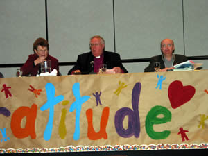 The (Gratitude) banner at the Head Table (where Archdeacon Marion Vincett, Bishop Ralph Spence, and Chancellor Rob Welch are seated) was created by the youth delegates to Synod