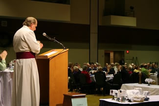 Bishop Michael delivering the Bishop's Charge on Friday Nov 18 2011