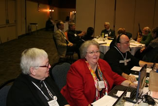 Canon Susan Wells and Mrs. Carol Summers, Honorary Secretaries and Canon Mark Tiller, Synod Planning