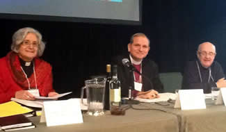 Canon Marni Nancekivell, Bishop Michael Bird, Chancellor Rob Welch